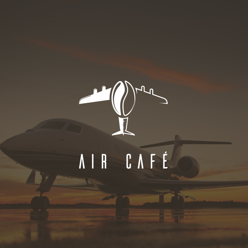 Airport logo with the title 'Coffee + plane logo concept'