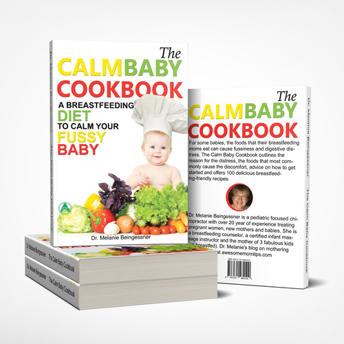 Baby book cover with the title 'The calm baby cookbook - booc cover design'