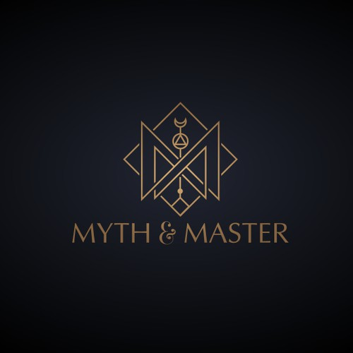 Gold logo with the title 'Mystical hipster jewelry line logo'