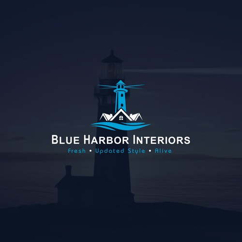 Harbor logo with the title 'Blue Harbor Interiors'