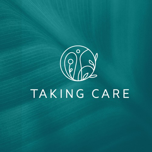 World map logo with the title 'Taking care'