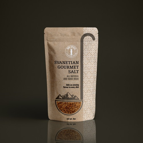 Salt packaging with the title 'Svanetian Gourmet Salt'