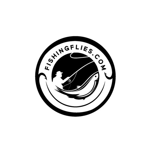 Fly fishing logo with the title 'FISHING FLIES'