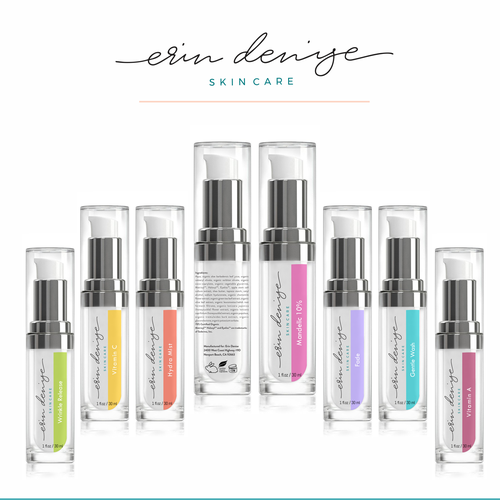 Cosmetics label with the title 'Label design for Erin Denise skin care'