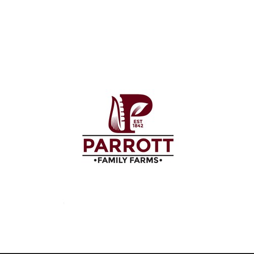 Corn logo with the title 'Initial logo for Parrott Family Farms'
