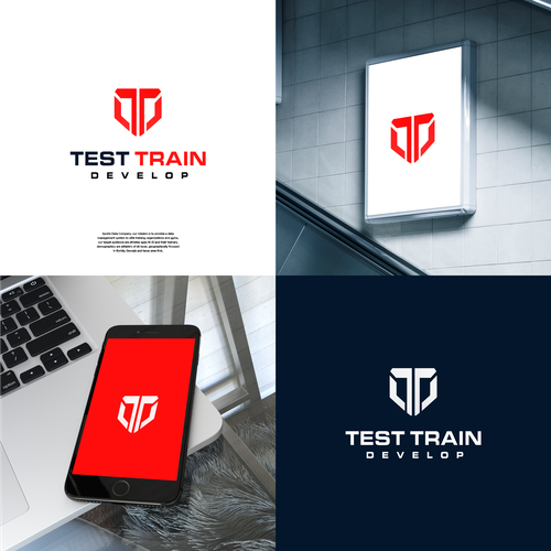 Barbell design with the title 'Test Train Develop Logo design.'