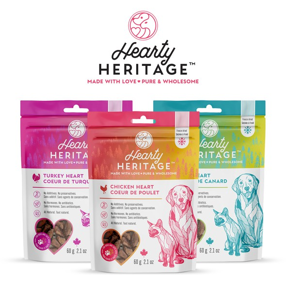 Dog packaging with the title 'Logo and packages for family run Pet Treats company'
