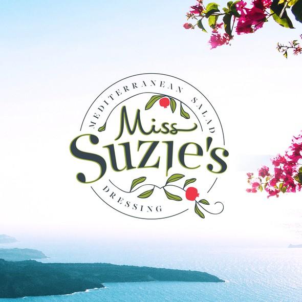 Shawarma logo with the title 'Logo Design Miss Suzie's Mediterranean Salad Dressing'