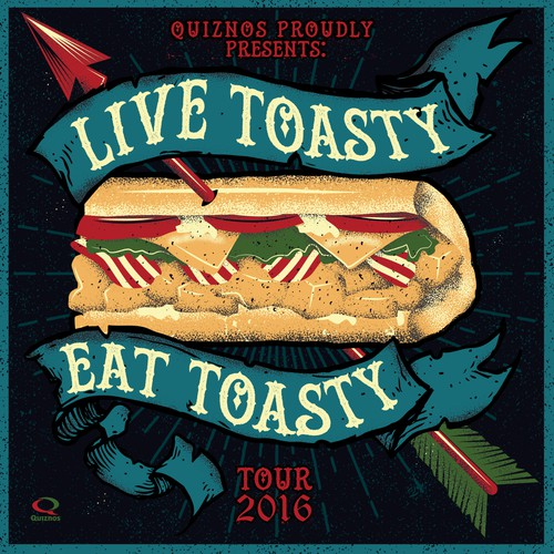 Sandwich artwork with the title 'Quiznos poster'