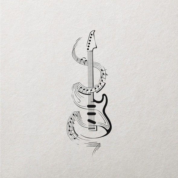 Classy design with the title 'Guitar & Music Tattoo'