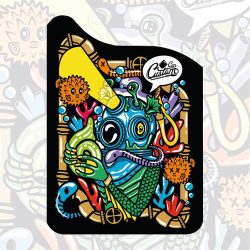 Graffiti design with the title 'Bold Deep Sea Creature Illustration for Jerry Can'