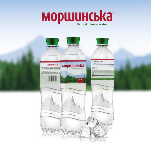 Beverage packaging with the title 'Water drink label concept'