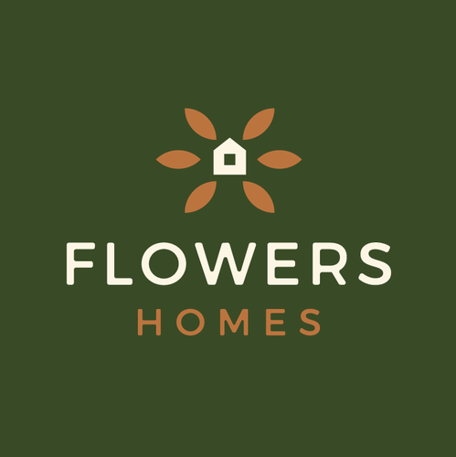 Flower heart logo with the title 'Flowers Homes'