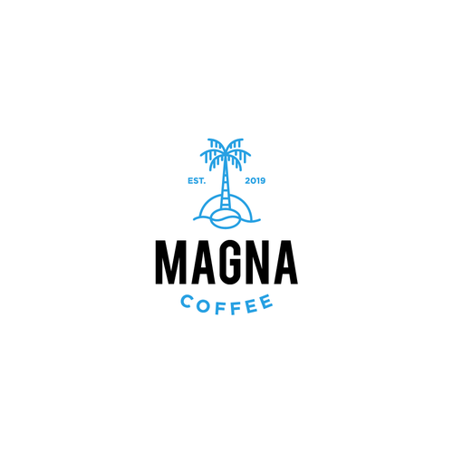 Palm tree logo with the title 'Logo for Magna Coffee'