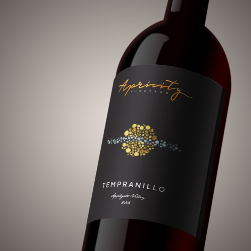 High-end label with the title 'Apricity Vineyard Wine Label'