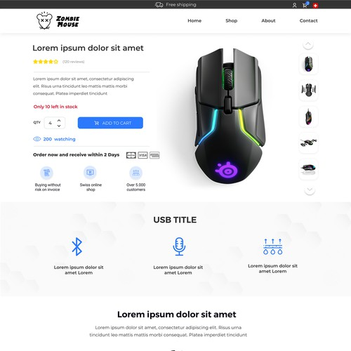 Product page design with the title 'High converting Productpage for Shopify'
