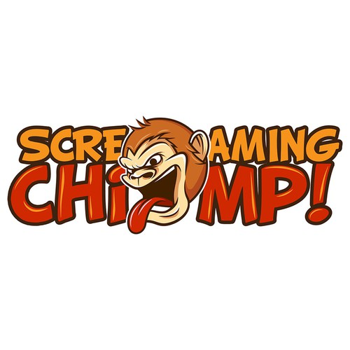 Chimp design with the title 'Logo Concept for Screaming Chimp'