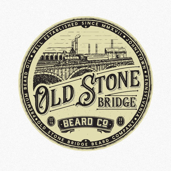 Old-school design with the title 'Old stone bridge beard company'