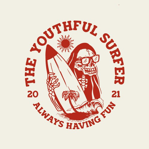 Skeleton logo with the title 'The Youthful Surfer'