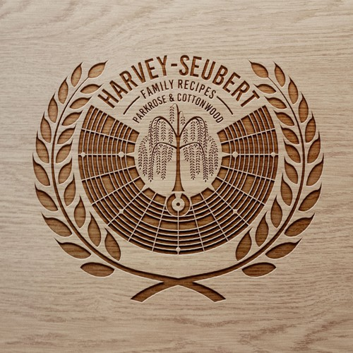 Wood illustration with the title 'Harvey Family Symbol'