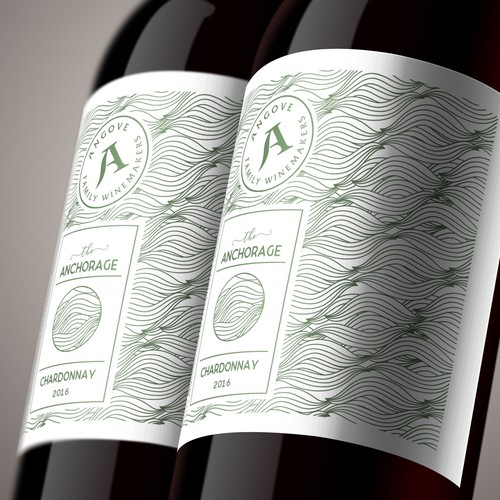 Vineyard label with the title 'Letterpress style wine label with repeating pattern'