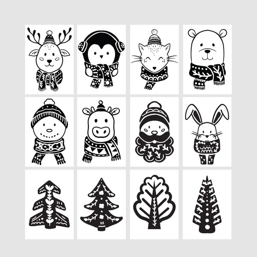 Christmas artwork with the title 'Cute Christmas illustrations'