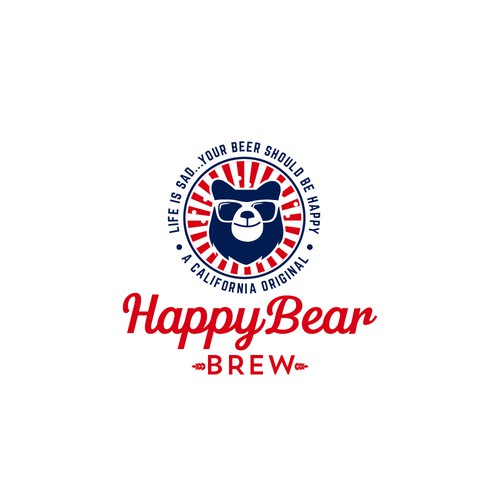 Food and beverage logo with the title 'Happy Bear Brew'