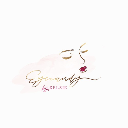 Eyelash logo with the title 'Elegant logo for beauty business - Eyecandy by Kelsie'