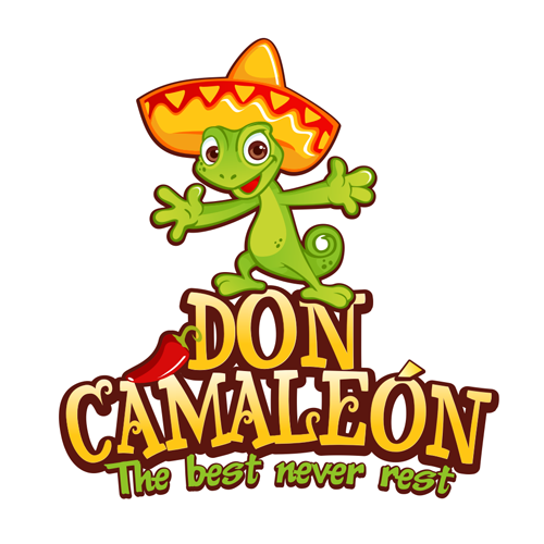 Red and green design with the title 'Don camaleón'