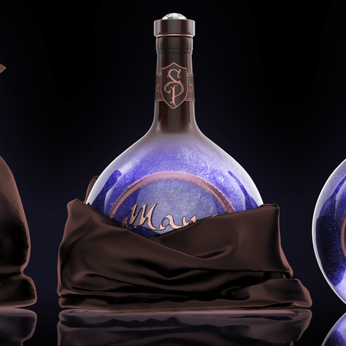 Bottle packaging with the title 'Very interesting bottle with game inspired design'
