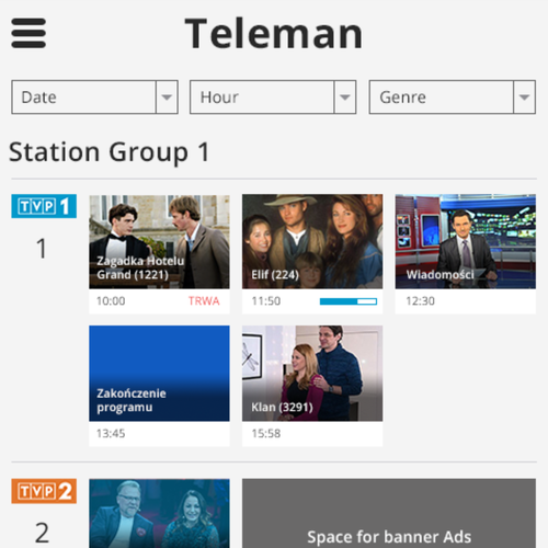 List design with the title 'Teleman mobile web redesign '