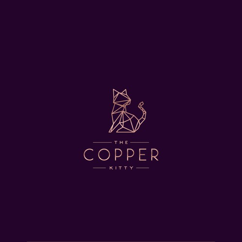 Gold logo with the title 'Logo for The Copper Kitty'