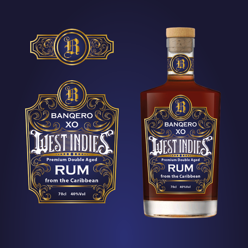 Liquor store design with the title 'Rum Label'