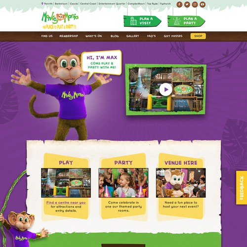 Entertainment website with the title 'Fun, Creative and Jungle inspired web page design for children indoor play centre'