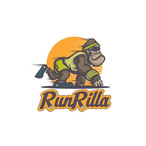 3D sports logo with the title 'Running Gorilla = RunRilla'