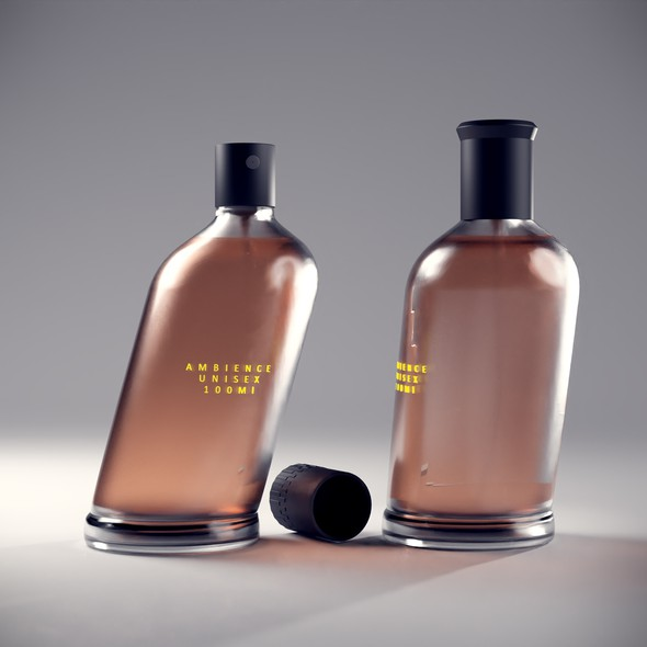 "Blender 3D design with the title 'Parfum Product Design ""Kursiv""'"