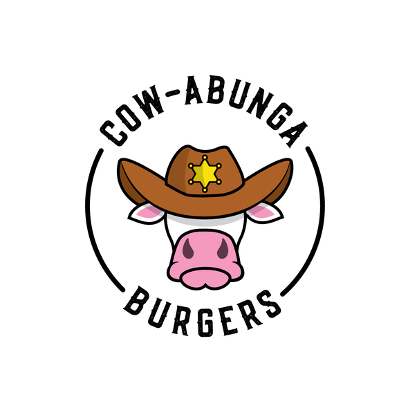 Fast food design with the title 'Cow-abunga Burgers'