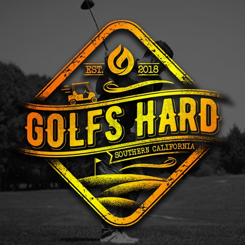 Calligraphy t-shirt with the title 'Golfs hard'