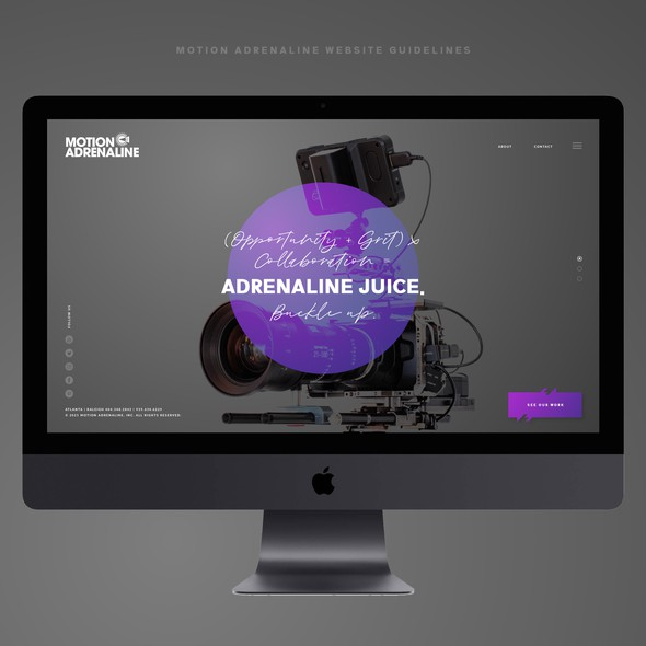 Photography website with the title 'Motion Adrenaline Website guidelines UI/UX'