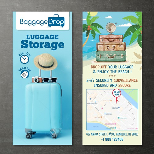 Luggage design with the title 'Flyer for Luggage Storage Co.'