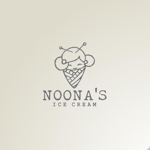 Ice cream brand with the title 'Feminine logo for Noona Ice cream'