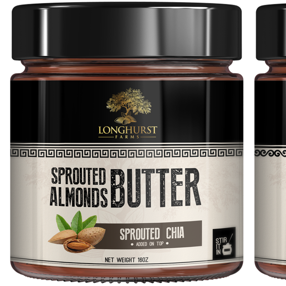 Almond packaging with the title 'Almond butter'