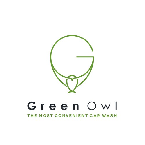 Minimalist logo with the title 'Green Owl '