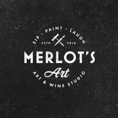Red wine logo with the title 'Merlot's Art'