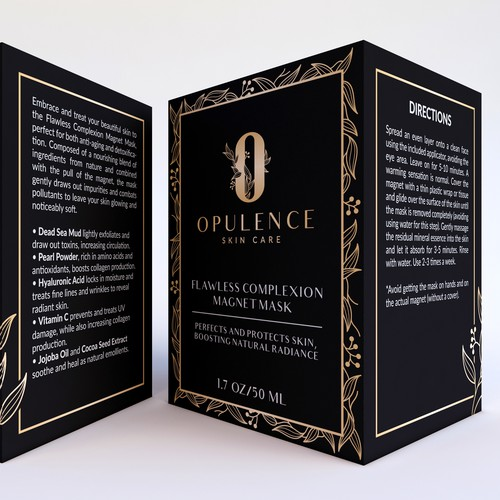 Leaf packaging with the title 'Opulence Skin Care Packaging Design'