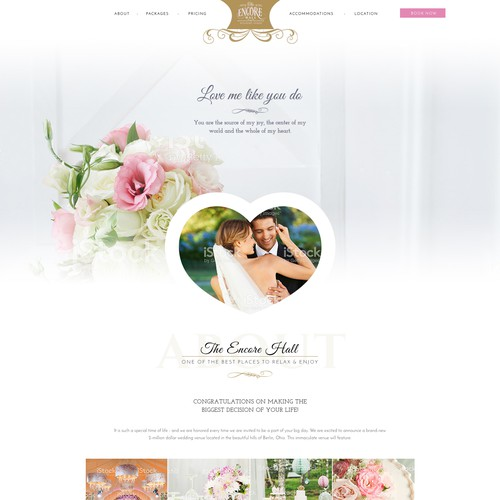 Women website with the title 'Design for a Wedding Venue'