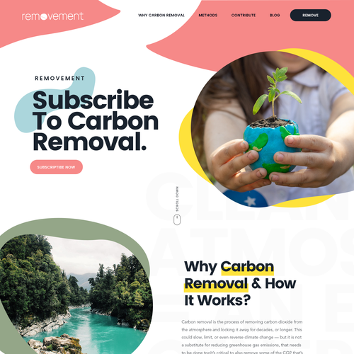 Typography website with the title 'Do a cool new website design for an environmental start up'
