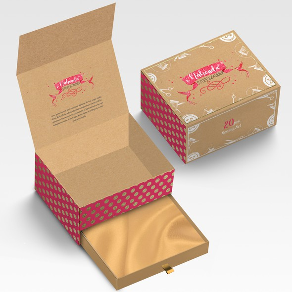 Pastel packaging with the title 'Package and Logo design'