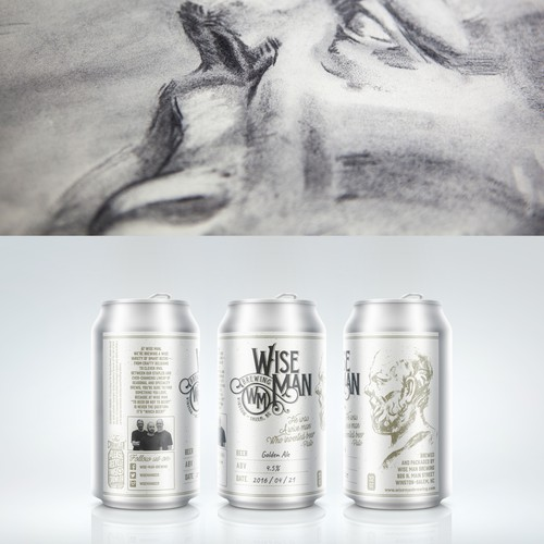 Beer design with the title 'Beer label for Wise Man Brewing'