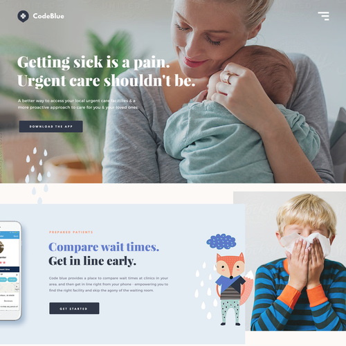 Professional website with the title 'Code Blue Landing'